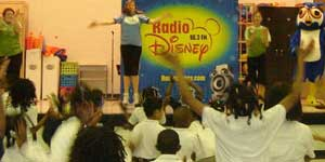 Ms. Bluebelle with kids and Radio Disney.